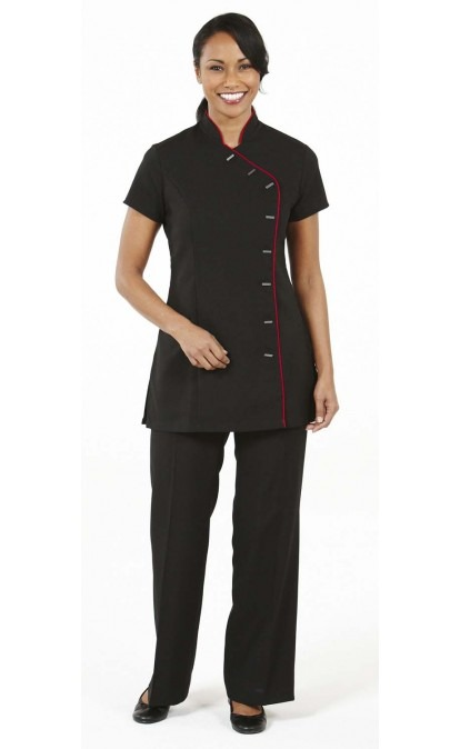 Black Asymmetrical Tunic With Coloured Trim